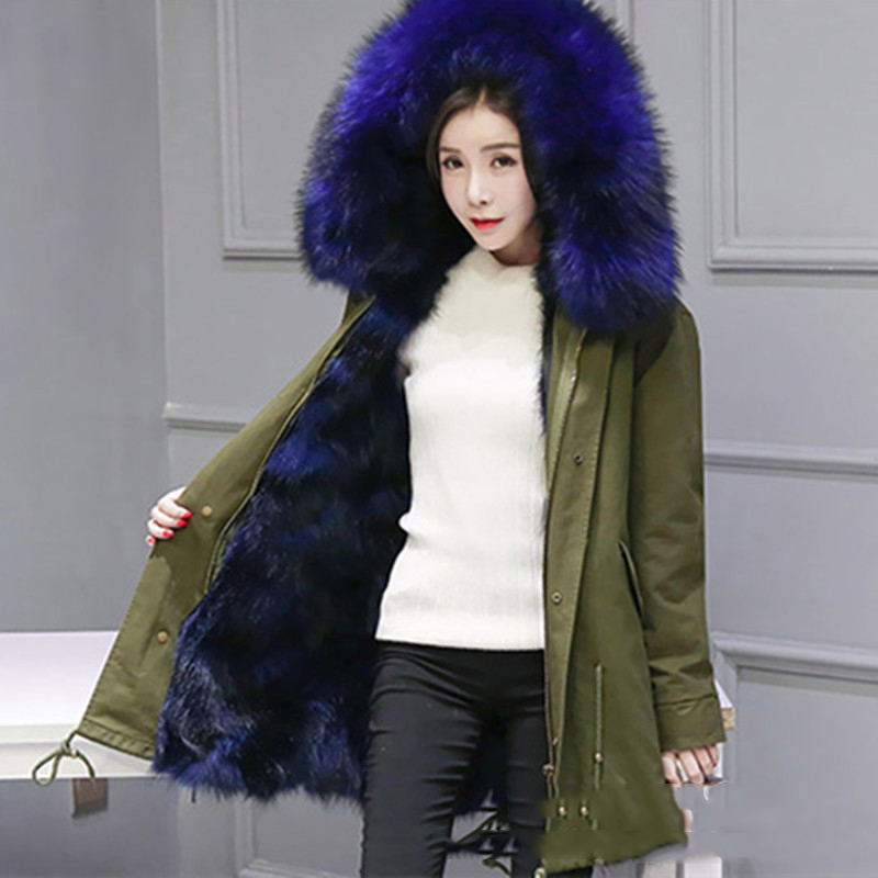 Wmwmnu fashion women luxurious Large raccoon fur collar hooded coat warm Fox fur liner parkas long winter jacket top quality 2017 winter new clothes to overcome the coat of women in the long reed rabbit hair fur fur coat fox raccoon fur collar