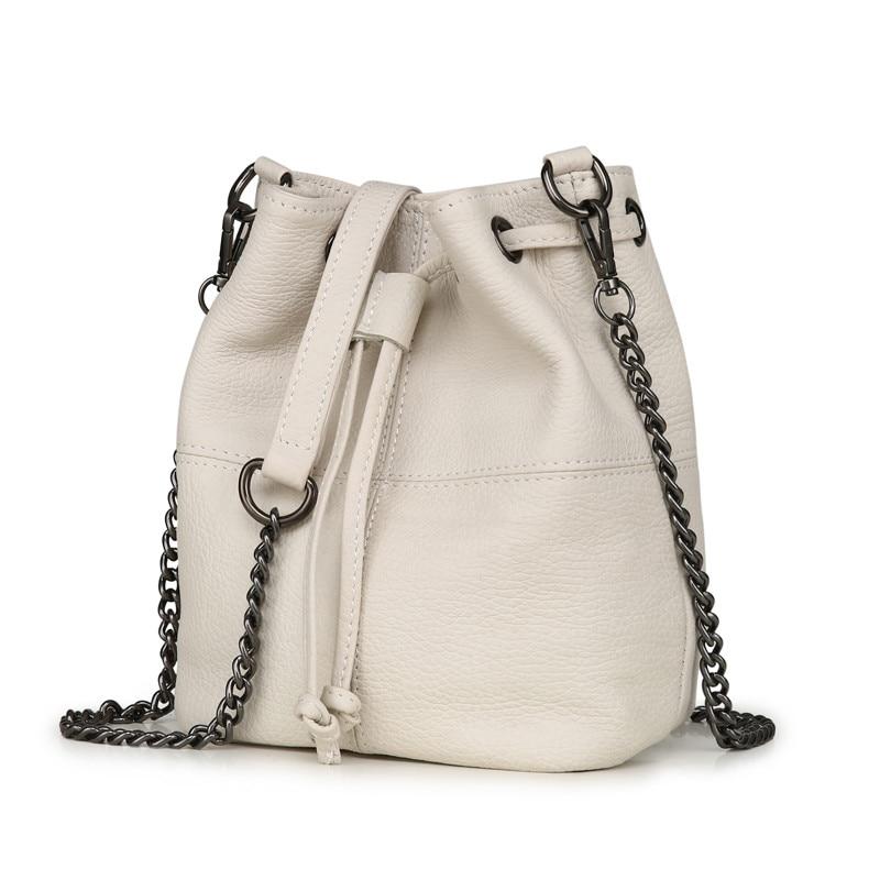 MJ Genuine Leather Women Bag Chain Crossbody Handbag Female Real Cow Leather Bucket Shoulder Bags Small Messenger Bag for Girls (11)