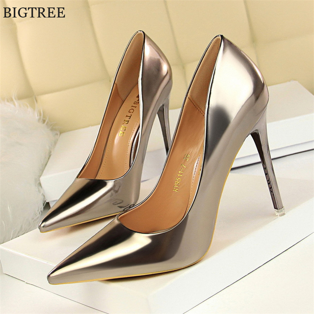 BIGTREE Shoes New Patent Leather Wonen Pumps Fashion Office Shoes Women Sexy High Heels Shoes Women's Wedding Shoes Party 1