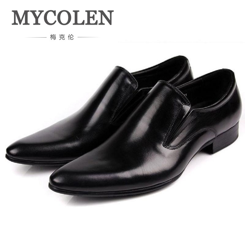 MYCOLEN New Fashion Oxford Shoes For Men Leather Comfort Shoes Men Slip-On Solid Casual Leather Dress Shoes Mocassin Homme branded men s penny loafes casual men s full grain leather emboss crocodile boat shoes slip on breathable moccasin driving shoes