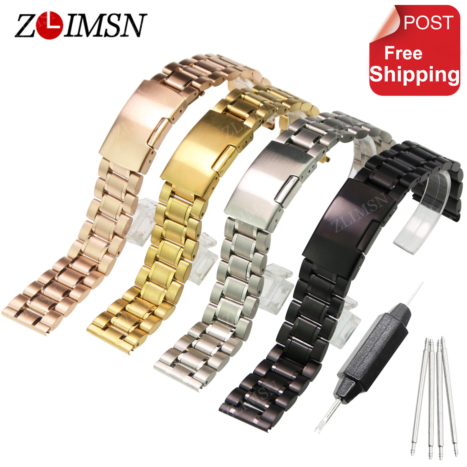 ZLIMSN 316L Stainless Steel Watch band Silver Black Rose Gold Watch Strap Bracelet Men Watchband 18 20 22 24mm Relojes Hombre relojes full stainless steel men s sprot watch black and white face vx42 movement