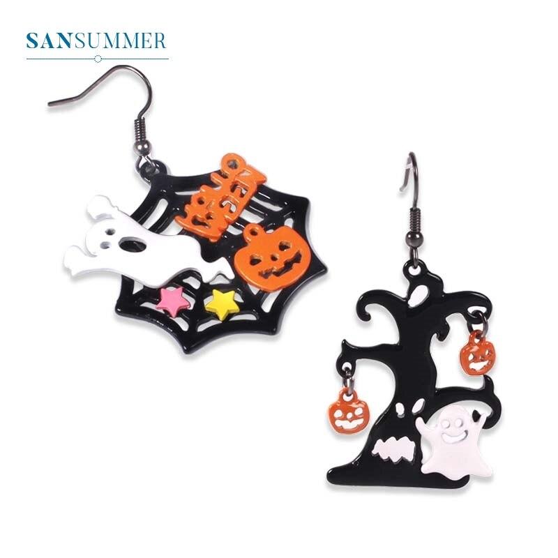 Halloween Ghost Specter Cobweb Pumpkin Drop Earrings Personality Dangle Earrings For Women Girls Charm Women Ear Jewelry Brincos