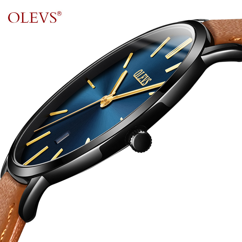 OLEVS Ultra dünne Mode Männlichen Armbanduhr Leder Armband Geschäfts Uhren Wasserdicht Kratz-beständig Uhr Uhr G5869P