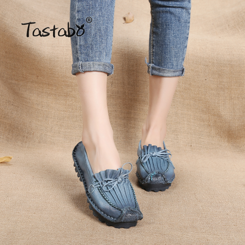 Tastabo Genuine Leather Flat Handmade Comfortable Casual Flat Shoes Women Baleriny Soft Ladies Shoes 2018 Women Loafers tastabo handmade autumn women genuine leather shoes cowhide loafers real skin shoes folk style ladies flat shoes for mom sapato