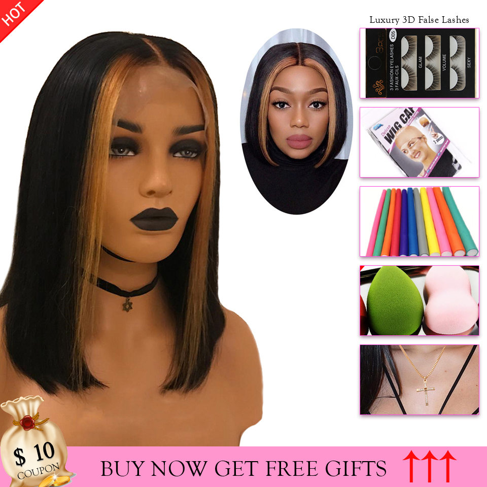 Short Bob Lace Front Wigs Ombre Blonde Bob Wig With Highlight Human Hair Straight Frontal Wig