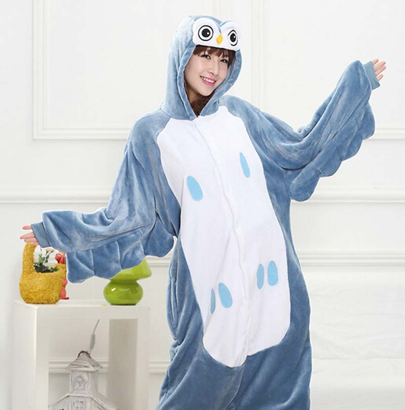 New Fashion Style Owl Animal Flannel Pajamas One Piece Cartoon Sleepwear Unisex For Adult Men Women Animal Onsies