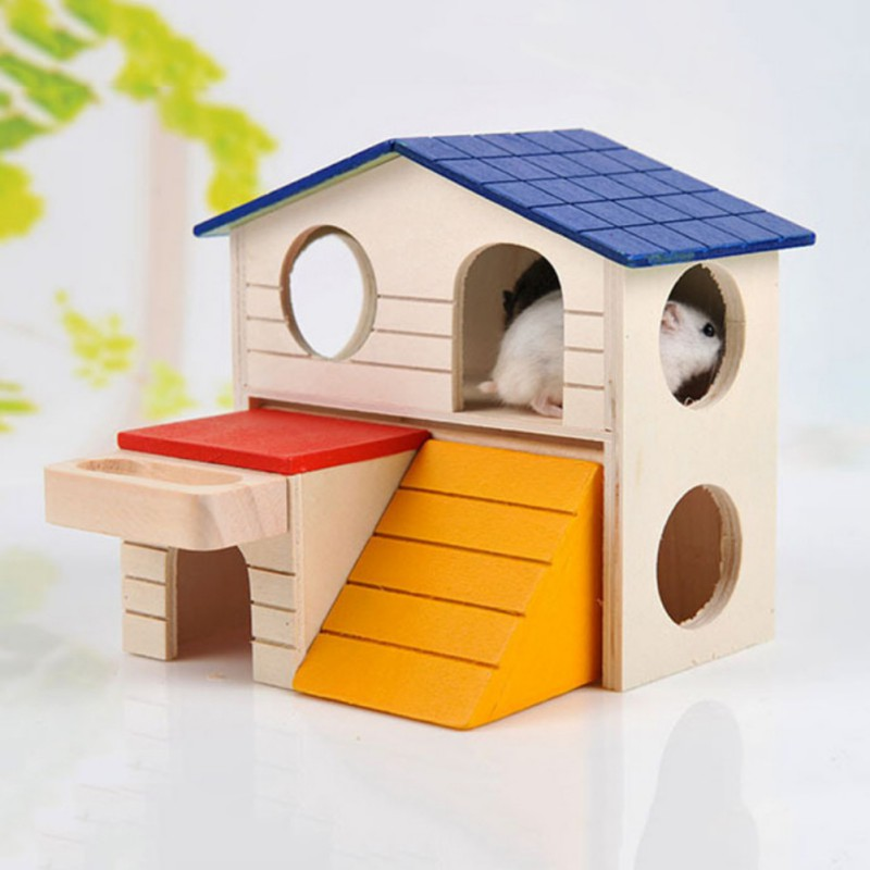 Romantic Natural Wooden Hamster House Hamster Foldable Toy Hamster Cage Decoration Hamster Small font b Pets