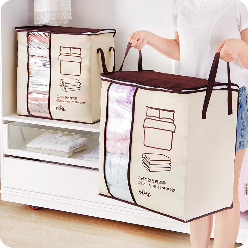2019 New Non-woven Portable Clothes Storage Big Bag Organizer Folding Closet Organizer For Pillow Quilt Blanket 45.5*51*29cm