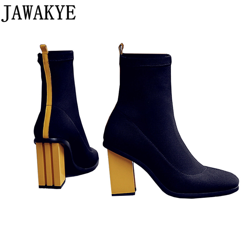 JAWAKYE designer Women Botas Ankle Boots for women red yellow square High Heels Shoes Fall winter short Botines MujerJAWAKYE designer Women Botas Ankle Boots for women red yellow square High Heels Shoes Fall winter short Botines Mujer