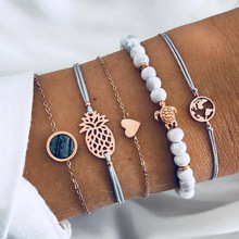 Miss JQ 5 Pcs/Set Bohemian Map Sea Turtle Bracelets Set For Women Girl Link Pineapple Bracelet & Bangles Charm Female Jewelry