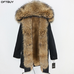 Image 1 - OFTBUY 2020 uzun Parka gerçek doğal rakun kürk ceket kış ceket kadınlar Streetwear giyim kalın sıcak rahat büyük kürk yaka
