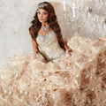 Luxo Vestidos Quinceanera vestido de Baile Em Linha 2017 Contas Vestido De Bola Vestidos De 15 Años Camadas Ruffles Doce 16 Dresses 15 anos