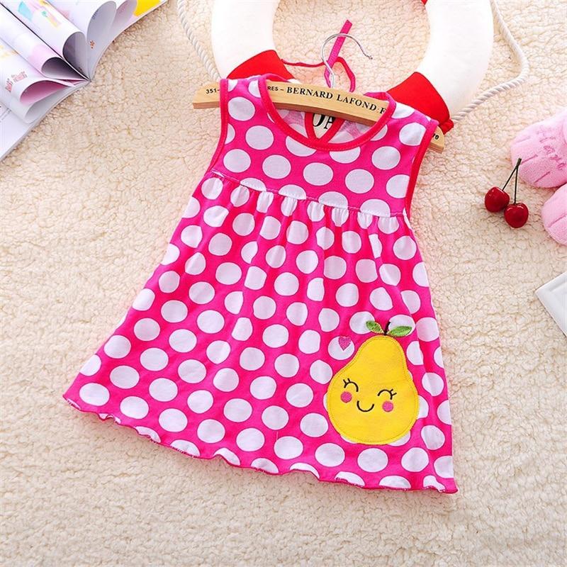 Newborn Baby Summer Dresses Girls Baby O-neck Sleeveless Cotton Princess Mini Dress Child Cute Pattern Decor Dot Clothes