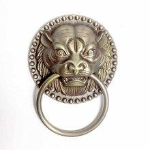 1 шт. античный латунный дверной молоток с головой льва благоприятное животное головка тяговое кольцо цельная деревянная дверная стеклянная дверная ручка орнамент дверные ручки