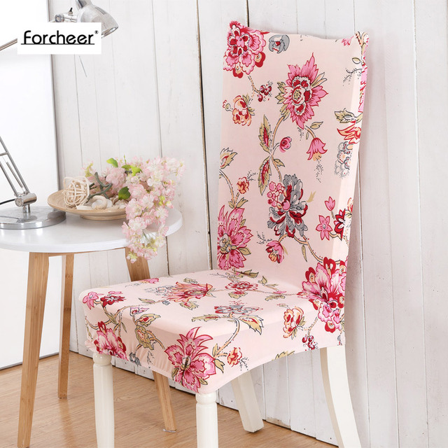 Floral Printing Flower Pattern Elastic Multifunctional Spandex Dining Room Chair Cover For Modern Kitchen Table