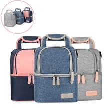 Thermal Lunch Box Cooler Food Double Layer Women Baby Milk Bottle Bag Backpack Set(China)