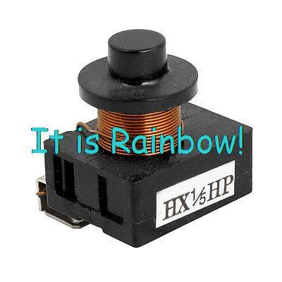 Plastic Shell Compressor PTC Starter Relay Black for 1/5 HP Freezer