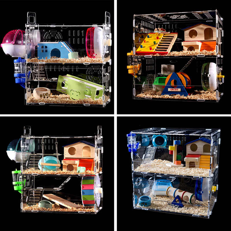Luxury Hamster Cage Bedding Large Guinea Pig Cage Acrylic Small Pets Habitats Mice House Chinchilla Ferret Hamster Accessories