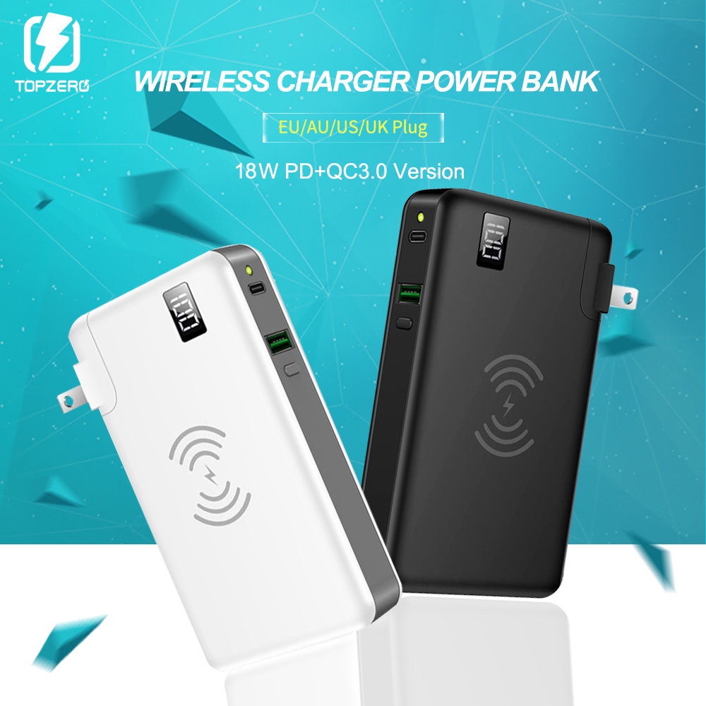 <font><b>10000</b></font> <font><b>mAh</b></font> Power Bank LED Display 18W PD Quick Charge 3.0 Fast Charging Wireless Power Bank For iPhone Samsung External Battery image
