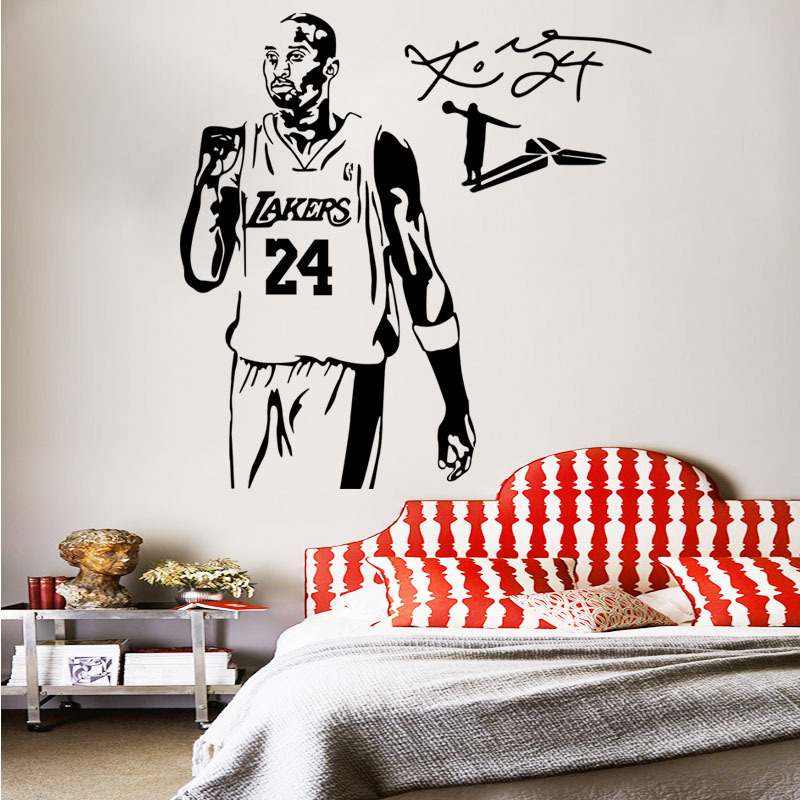 Hot Sale Basketball Player Wall Sticker Kobe Bryant Wallpaper Decal ...