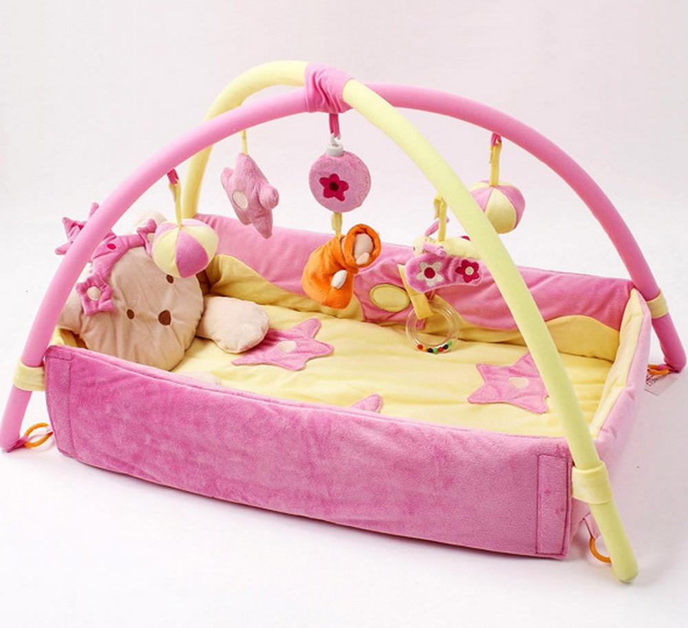 pink blue newborn baby play mat toys infant musical gym toddler fleece soft children kids mats. Black Bedroom Furniture Sets. Home Design Ideas