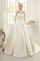 Elegant Simple Long Sleeve Wedding Dresses With Lace 2015 High Neck Puffy Backless Bridal Gowns Vestido