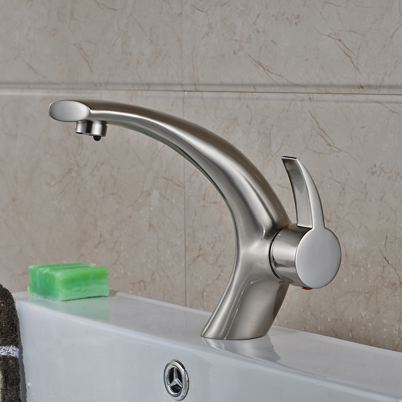 New Design Nickel Brushed Finished Deck Mounted Bathroom Sink Faucet Single Hole Mixer Tap цена