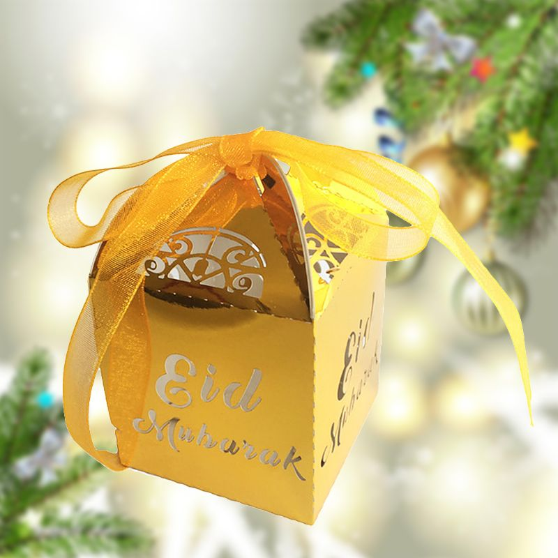 50pcs Party Kids Favors 50pcs Gold Silver Happy Eid Mubarak Box Ramadan Decoration Laser Cut Pearl Paper Ribbon Candy Boxes in Gift Bags Wrapping Supplies from Home Garden