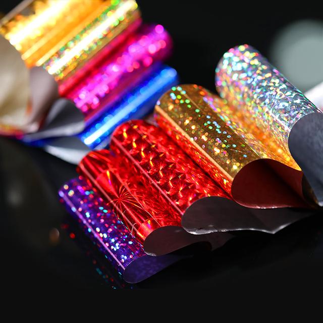 10Pcs Colorful Nail Foils 4*20cm