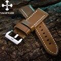 113 Luz Brown Genuine Leather Watch Strap 24/24mm Pulseira com Fivela