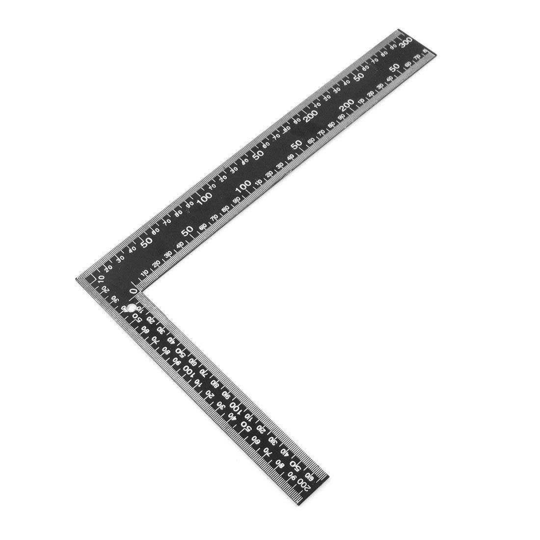 SOSW-Teacher 0-30cm 0-20cm Measuring Range L Shaped Design Square Ruler Black