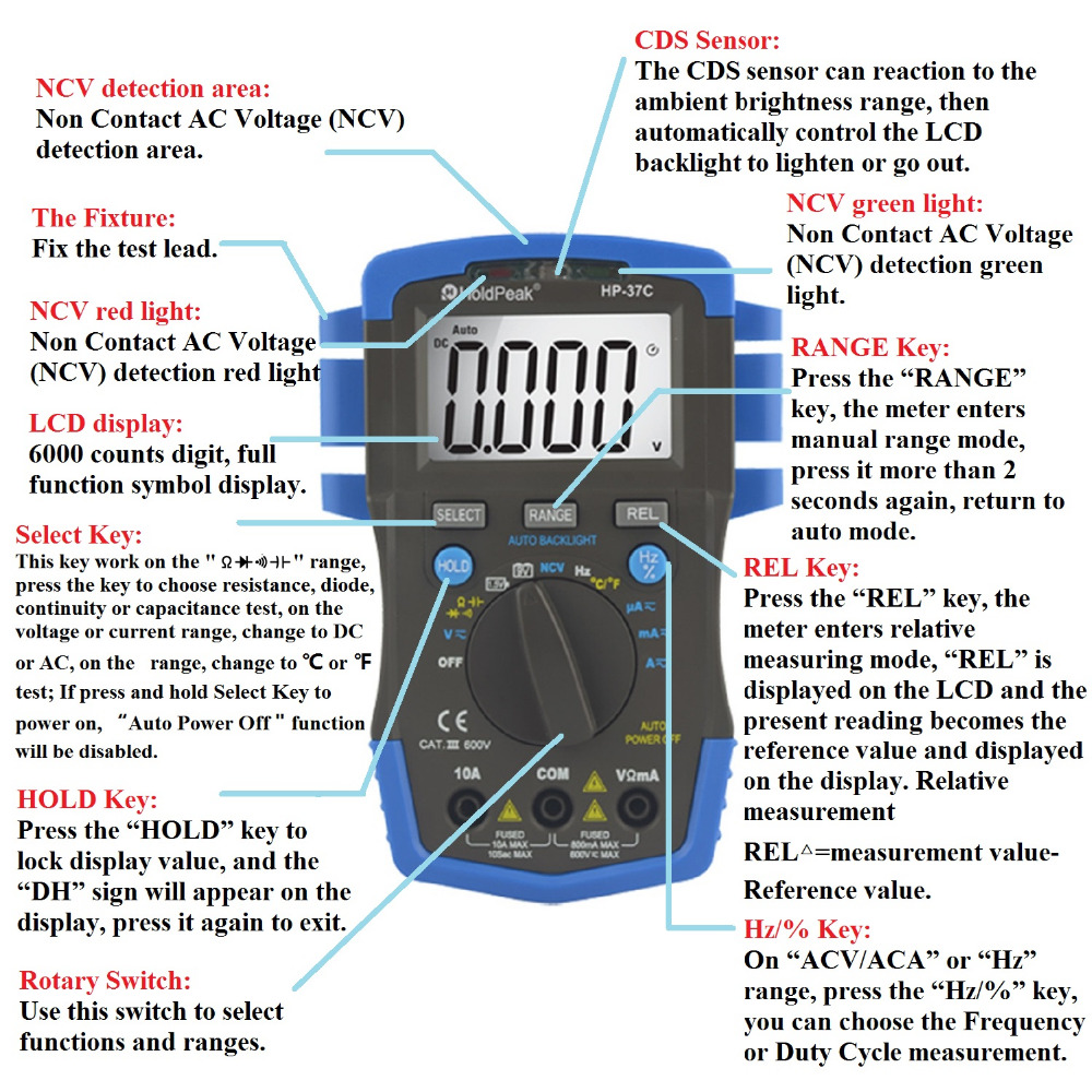 Mini multimetro digital holdpeak hp 37c auto range true rms acdc mini multimetro digital holdpeak hp 37c auto range true rms acdc voltage digital multimeter temperature ncv electrical tester in multimeters from tools on buycottarizona Images