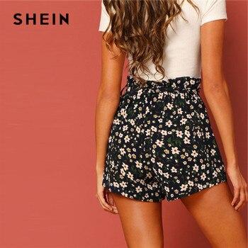 SHEIN Boho Paperbag Tie Waist Flower Print Straight Leg Shorts Women Summer Zipper Fly High Waist Casual Vacation Bottoms 1