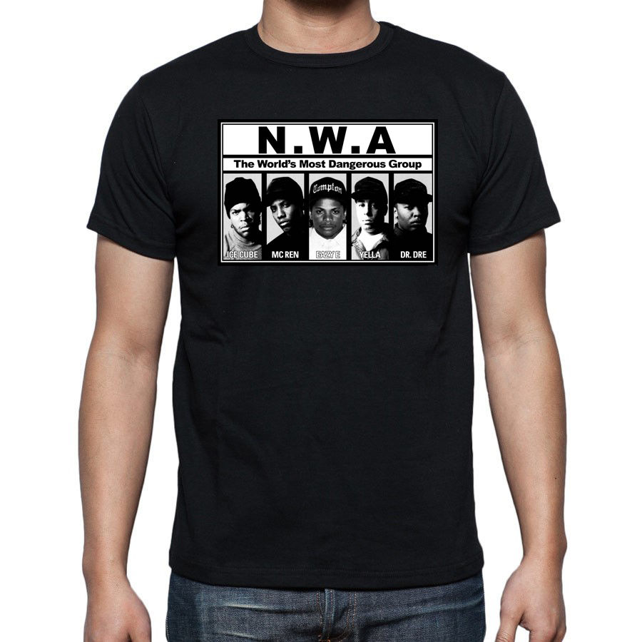 Funny T Shirts Online Short Sleeve N.W.A T-Shirts Hip Hop Rap Nwa Dr Dre Eazy E Dj Yella Mc Ren Regular Crew Neck Tee Shirt ...