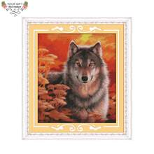 Joy Sunday D310 14CT 11CT Stamped and Counted Home Decoration Autumn Wolf Cross Stitch Kits(China)