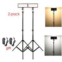 Photo Studio set 2x Viltrox L132T Bi Color Dimmable LED Video Light + 2x Light Stand +2x AC Adapter for DSLR Camera Photo