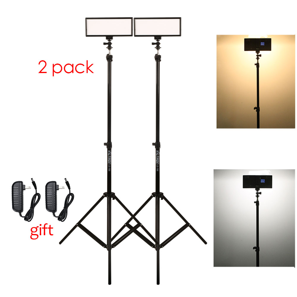 Photo Studio set 2x Viltrox L132T Bi-Color Dimmable LED Video Light + 2x Light Stand +2x AC Adapter for DSLR Camera Photo
