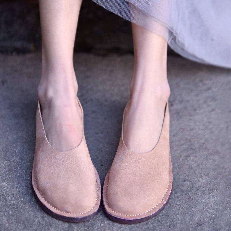 Retro Suela Japonés Artmu Perezosos yellowish Mujeres A Nuevo Cómodos Simple Las Estilo Genuino Original Suave Planos Brown Hecho De Cuero Zapatos pink Mano Gray wIwEqzC
