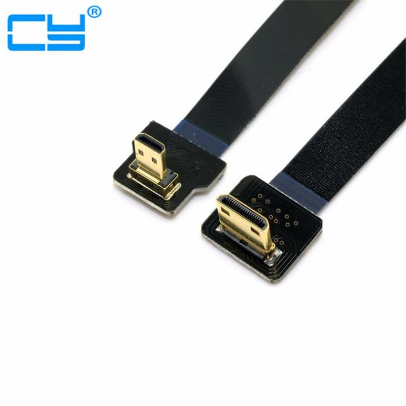 1M 90 degrés FPV Micro HDMI mâle vers Mini HDMI FPC Câble plat pour GOPRO Multicopter photographie aérienne 0.1m 0.2m 0.5m 0.8m