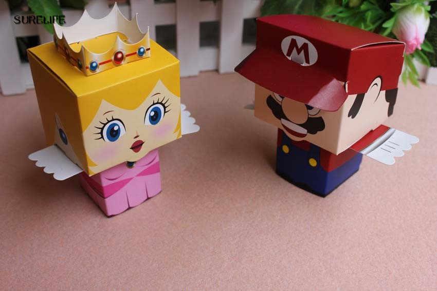 40 pçs/lote dos desenhos animados super marie bros princesa noiva e noivo favores de casamento mario caixa de doces presentes de casamento