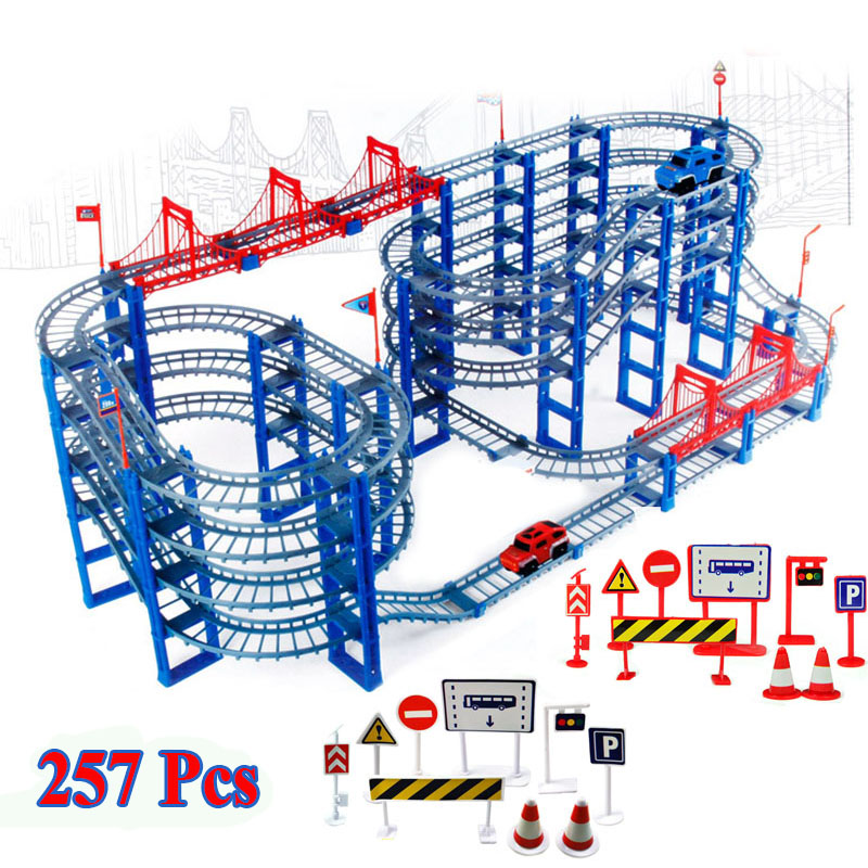257pcs DIY Track Car Diecasts Toy Vehicles Rail Car Road Assembled Educational Toys