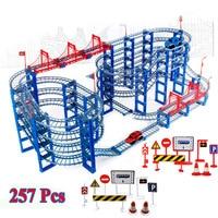 257pcs DIY Track Car Diecasts Toy Vehicles Rail Car Road Assembled Educational Toys