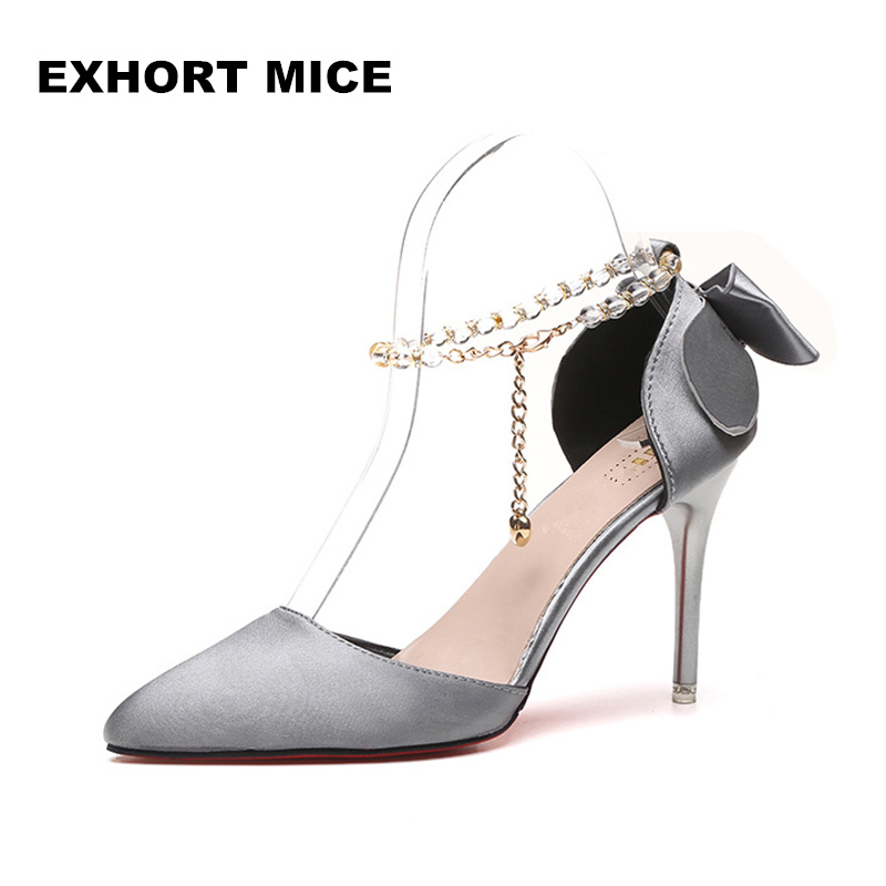 2018 New  summer fashion sexy big bow pointed toe high heels sandals shoes woman ladies wedding party pumps dress shoe #669 summer woman fashion sexy sandals women open toe high heels dress shoes ladies party pumps sandals female shoes free shipping