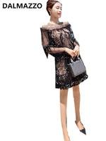 2018 Summer High End Design Newest Women Black Lace Mesh Knee Length Dresses High Quality Long