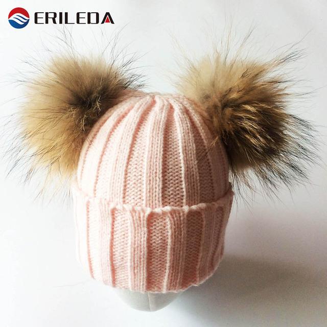 2017 Baby Girl Chapéu Raccon Fur Dois Ball Caps Para O Bebê Crianças Inverno Menina Chapéus Bonés