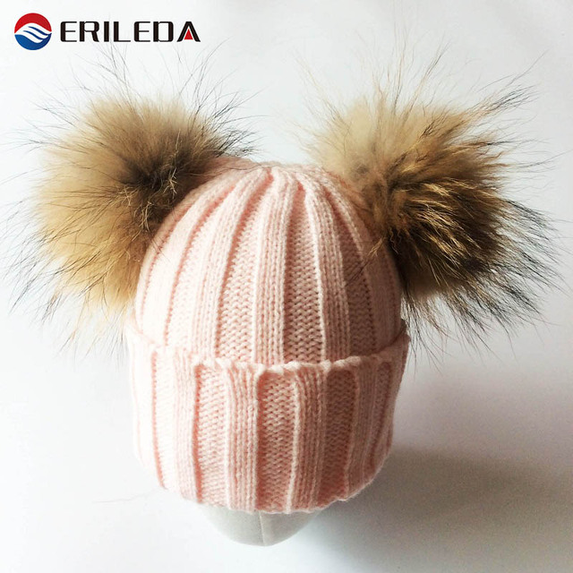 2017 Baby Girl Hat Raccon Fur Two Ball Caps For Baby Girl Winter Children Hats Caps