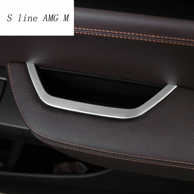 Estilo do carro ABS caixa de Armazenamento Caixa de Apoio de Braço da Porta do Motorista Interno X4 Tampa Quadro adesivos Para BMW X3 F25 2011-2017 auto Acessórios