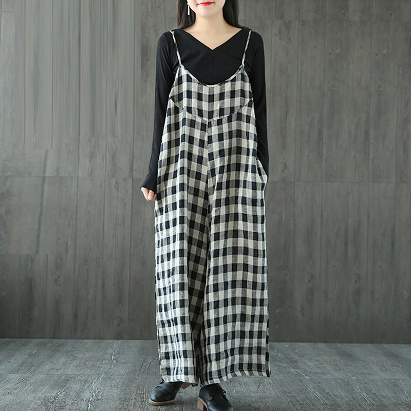 ZANZEA Women Oversized Check Plaid Dungarees Jumpsuits Overalls Vintage Long Trousers Female Strappy Casual Loose Harem Pants