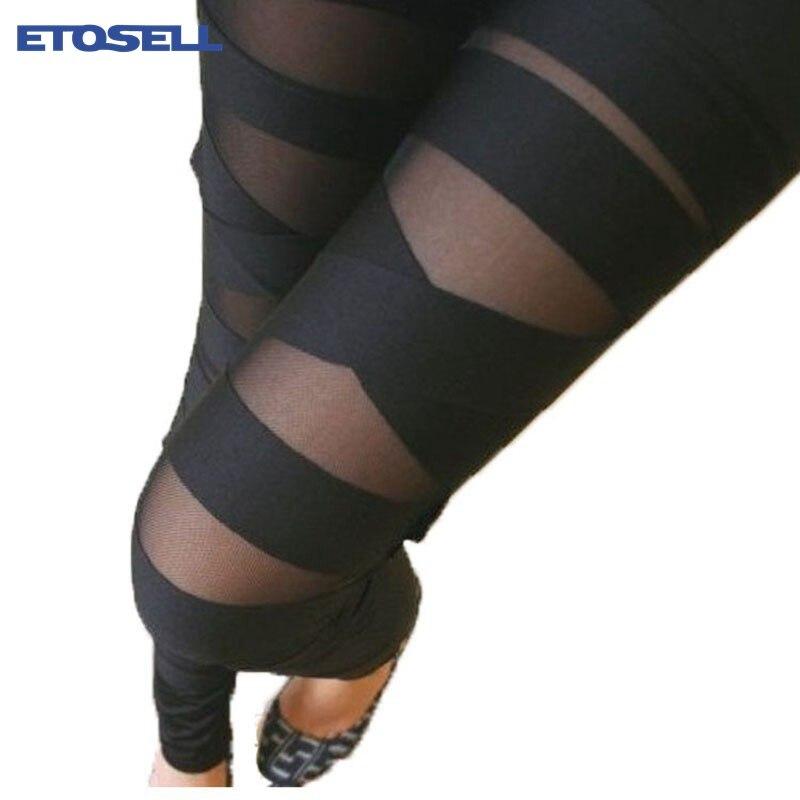 ETOSELL Women Girls Sexy Bandage Black One Size Mesh   Leggings   Ladies Fashion Ladies Plus Size Pants Ripped   Leggings