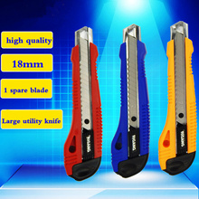 High Quality plast and steel Large Size Utility Knife Auto-lock Paper Cutter With spare blade School and Office Stationery Tools